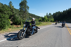Michelle Thomson, president of Black Hills and Badlands Tourism on the Harley-Davidson Women's Angels Ride to benefit the Nature Conservancy during the annual Sturgis Black Hills Motorcycle Rally.  SD, USA.  August 12, 2016.  Photography ©2016 Michael Lichter.
