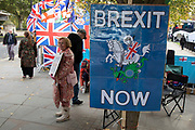 Pro Brexit anti European Union Leave protesters demonstrating in Westminster on 30th October 2019 in London, England, United Kingdom. Brexit is the scheduled withdrawal of the United Kingdom from the European Union. Following a June 2016 referendum, in which 51.9% of participating voters voted to leave. As a General Election is passed through the Commons, Brexit protests intensify outside Parliament the day before the original date of leaving on the 31st.
