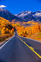 Fall color, Colorado Highway 145 in the San Juan Mountains, near Telluride, Colorado USA.