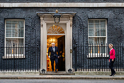 © Licensed to London News Pictures. 08/01/2020. London, UK. Prime Minister Boris Johnson greets President of the European Commission Ursula von der Leyen outside 10 Downing Streetz. Photo credit: Rob Pinney/LNP