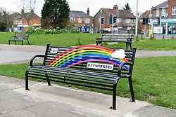 Rainbow thank you bench to NHS & key workers during Coronavirus pandemic, Reading, UK March 2021