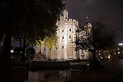 Night view of the White Tower at the Tower of London in London, United Kingdom. The White Tower is a central tower, the old keep, at the Tower of London. It was built by William the Conqueror during the early 1080s, and subsequently extended. The White Tower was the castles strongest point militarily, and provided accommodation for the king and his representatives, as well as a chapel. The Tower of London, officially Her Majestys Royal Palace and Fortress of the Tower of London, is a historic castle located on the north bank of the River Thames in central London. It was founded towards the end of 1066 as part of the Norman Conquest of England.