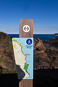 Nobbys Beach, Port Macquarie, a local dog friendly beach. Beach signage showing costal walk.