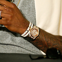 01 June 2017: Close view of Cleveland Cavaliers forward LeBron James (23) jewelry during a press conference following the Golden State Warriors 113-90 victory over the Cleveland Cavaliers, in game 1 of the 2017 NBA Finals, at the Oracle Arena, Oakland, California, USA.