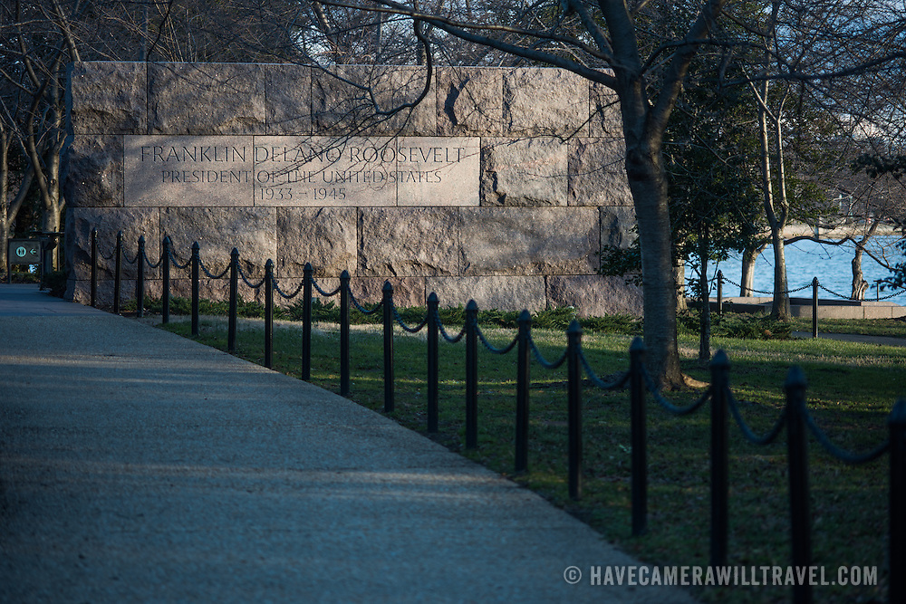 A stone entrance sign at the southern end of the FDR Memorial in Washington DC.