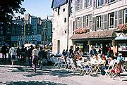 Le Week End cafe at Honfleur, Normandy, France 1976