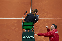 April 6, 2018 - Valencia, Valencia, Spain - Sergi Bruguera (R) Captain of Spain talks with referee Louise Azemar-Engzell of Sweden during the match between Rafael Nadal of Spain and Philipp Kohlschreiber of Germany during day one of the Davis Cup World Group Quarter Finals match between Spain and Germany at Plaza de Toros de Valencia on April 6, 2018 in Valencia, Spain  (Credit Image: © David Aliaga/NurPhoto via ZUMA Press)