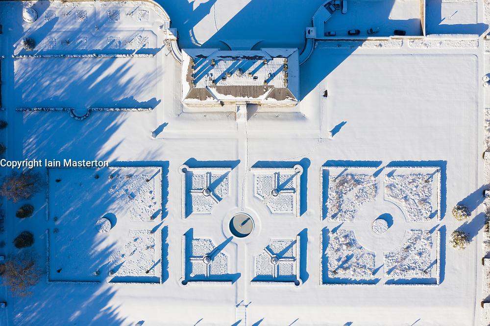 Kinross, Scotland, UK. 11 Feb 2021. Aerial view of a snow covered  Kinross House and gardens in Kinross, Kinross-shire.  Iain Masterton/Alamy Live news