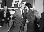 Garret Fitzgerald Stands Down As Fine Gael Leader.(R52)..1987..11.03.1987..03.11.1987..11th March 1987..After the loss at the recent general election Dr Garret Fitzgerald took the decision to resign as leader of the Fine Gael Party...Picture shows Dr Fitzgerald accepting a kiss from a well wisher after he announced his decision to resign as leader of Fine Gael at Jury's Hotel today.