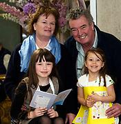 07/04/2019 repro free: <br /> Roisin Nic Dhonnchadha Scoil Naomh Chiarain Cill Chiarain with her Grandparents  Eithne Nic Dhonnchadha Peadar Mhac Donnachadha and her cousin  Cora Nic Dhonnchadha Scoil Mhic Dara an Ceathru rua at Scriobh Leabhair organised by The Galway Education centre and help at the Salthill Hotel  . Photo: Andrew Downes, Xposure