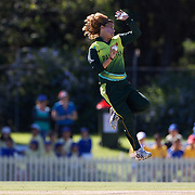 Qanita Jalil bowling during the match between Australia and Pakistan in the Super 6 stage of the ICC Women's World Cup Cricket tournament at Bankstown Oval, Sydney, Australia on March 16 2009, Australia won the match by 107 runs. Photo Tim Clayton