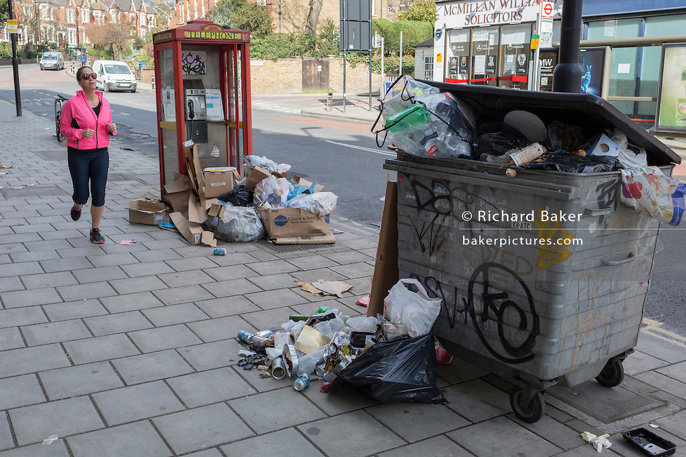 Discarded rubbish and litter fly-tipped on the street, on 7th March 2017, in Herne Hill, SE24, London borough of Lambeth, England.