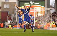 Photo: Daniel Hambury.<br />Arsenal v Cardiff City. The FA Cup. 07/01/2006.<br />Cardiff's Neil Cox celebrates as his header is touched in at the far post by Cameron Jerome.