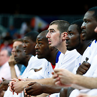 06 August 2012: France Nando De Colo is seen on the bench during 79-73 Team France victory over Team Nigeria, during the men's basketball preliminary, at the Basketball Arena, in London, Great Britain.