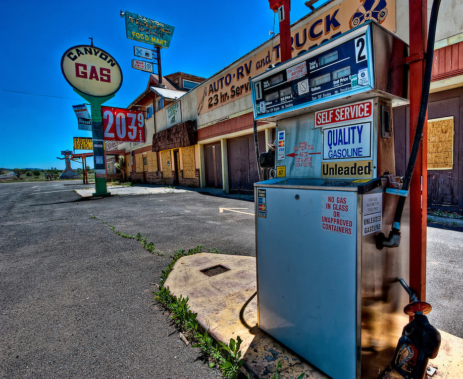 Picture of and abandoned post and gas stantion close to Williams, in Arizona. License Available for Editorial Use Only