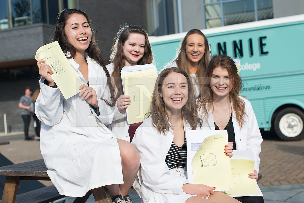 © Licensed to London News Pictures . 18/08/2016 . Wigan , UK . Students who are going on to study medicine , dentistry and veterinary sciences . Students at Winstanley College in Wigan collect their A-Level results . Photo credit: Joel Goodman/LNP