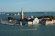 View from the Campanile across the Venice lagoon at the San Giorgio Maggiore island.