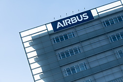 Airbus sign. Airbus, the European aerospace group, announced the end of production of the A380, February 14, 2019, in Toulouse (France). Twelve years after its commissioning, and failing to find a satisfactory sales market, the decision was made following the withdrawal of some companies and the reduction of recent Emirates orders. The last planes will have to leave the chains of production in 2021. Photo by Patrick BATARD / ABACAPRESS.com
