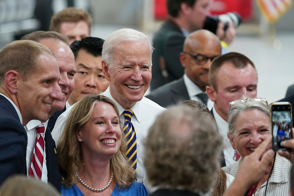 President Joe Biden interact with attendees after delivering remarks July 28, 2021, following a tour of Mack Trucks Lehigh Valley Operations in Lower Macungie Township, Pennsylvania. The presidential visit was made to highlight the importance of American manufacturing, buying products made in America, and supporting good-paying jobs for American workers. (Photo by Matt Smith)