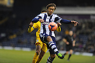West Brom's Diego Lugano holds off Dwight Gayle of Crystal Palace . FA Cup with Budweiser, 3rd round, West Bromwich Albion v Crystal Palace match at the Hawthorns in Birmingham, England on Saturday 4th Jan 2014.<br /> pic by Andrew Orchard, Andrew Orchard sports photography.