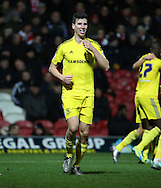 Middlesbrough defender Daniel Ayala scoring the first goal during the Sky Bet Championship match between Brentford and Middlesbrough at Griffin Park, London, England on 12 January 2016. Photo by Matthew Redman.
