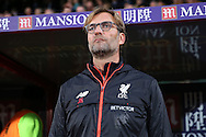 Jurgen Klopp, the Liverpool manager looks on from the dugout . Premier League match, Crystal Palace v Liverpool at Selhurst Park in London on Saturday 29th October 2016.<br /> pic by John Patrick Fletcher, Andrew Orchard sports photography.