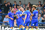 AFC Wimbledon Forward Cody McDonald (10) celebrates his second goal 2-1 during the Pre-Season Friendly match between AFC Wimbledon and Watford at the Cherry Red Records Stadium, Kingston, England on 15 July 2017. Photo by Jon Bromley.