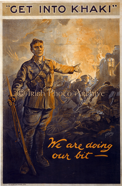 World War I 1914-1918: 'Get into Khaki' We are doing our bit -.  Australian recruitment poster showing soldier with rifle in one hand gesturing toward other soldiers in battle (1914-1918).