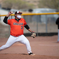 Gallup Bengal Nolan Spencer pitches against the Grants Pirates during their varsity baseball game Tuesday afternoon in Gallup.