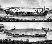 Canal boat for passengers and freight with framework for tarpaulin (top) and boat for freight covered with tarpaulin (bottom). Rope leading out of picture to left is attached to draught horse on canal towpath. From Robert Fulton 'A Treatise on the Improve