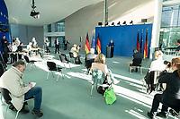 20 MAY 2020, BERLIN/GERMANY:<br /> Angela Merkel, CDU, Budneskanzlerin, gibt ein Pressestatement zur vorangegangenen Videokonferenz mit den mit den Vorsitzenden internationaler Wirtschafts- und <br /> Finanzorganisationen, Sitzordnung mit Abstand zur Vermeidung von Corona-Infektionen, Bundeskanzleramt<br /> IMAGE: 20200520-01-010<br /> KEYWORDS: Pressekonferenz