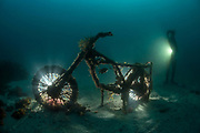 The wreck of a motor bike provides habitat for natural reef inhabitants including fish and crustaceans. It also provides a place to explore for recreational divers in the Cabbage Tree Bay Aquatic Reserve.