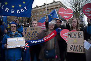 Pro eu supporters demonstrateopposite Downing Street in London, UK on 31st January, 2020. The United Kingdom formally leaves the European Union at 23:00 GMT today.