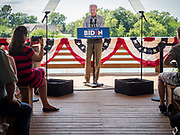 20 AUGUST 2019 - PROLE, IOWA: Former Vice President JOE BIDEN speaks during his campaign appearance in Prole. Vice President Biden is campaigning in Iowa to be the Democratic nominee for the US Presidency. He spoke to about 200 people in Prole Tuesday afternoon. Iowa traditionally hosts the first event of the presidential election cycle. The Iowa caucuses are Feb. 3, 2020.          PHOTO BY JACK KURTZ