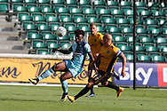 Eberechi Eze of Wycombe is challenged by David Pipe of Newport county ®.   EFL Skybet football league two match, Newport county v Wycombe Wanderers at Rodney Parade in Newport, South Wales on Saturday 9th September 2017.<br /> pic by Andrew Orchard, Andrew Orchard sports photography.