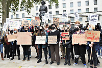 Protesters  opposite Downing Street to call on the government to provide free school meals Photo by Krisztian Elek