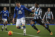 James McCarthy (Everton) is forced out of the box by Georginio Wijnaldum (Newcastle United) during the Barclays Premier League match between Everton and Newcastle United at Goodison Park, Liverpool, England on 3 February 2016. Photo by Mark P Doherty.