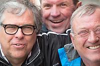 BLOEMENDAAL - Diederik Korthals Altes, Ton van Rheenen en Hans van de Leij (l) . Euro Hockey League 2015 . COPYRIGHT KOEN SUYK