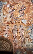 Pictures & images of Nikortsminda ( Nicortsminda ) St Nicholas Georgian Orthodox Cathedral rich interior frescoes of Adam & Eve, 16th century, Nikortsminda, Racha region of Georgia (country). A UNESCO World Heritage Tentative Site. .<br /> <br /> Visit our MEDIEVAL PHOTO COLLECTIONS for more   photos  to download or buy as prints https://funkystock.photoshelter.com/gallery-collection/Medieval-Middle-Ages-Historic-Places-Arcaeological-Sites-Pictures-Images-of/C0000B5ZA54_WD0s<br /> <br /> Visit our REPUBLIC of GEORGIA HISTORIC PLACES PHOTO COLLECTIONS for more photos to browse, download or buy as wall art prints https://funkystock.photoshelter.com/gallery-collection/Pictures-Images-of-Georgia-Country-Historic-Landmark-Places-Museum-Antiquities/C0000c1oD9eVkh9c