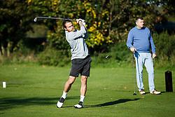 "Stuart Sinclair of Bristol Rovers (on the ""LA Raiders"" team) takes part in the Bristol Rovers charity golf day - Mandatory byline: Rogan Thomson/JMP - 07966 386802 - 12/10/2015 - GOLF - Farrington Park Golf Club - Bristol, England - Bristol Rovers Golf Day."