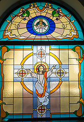 Stained glass window in Mor Ignatius Jacobite Syrian Orthodox Church at Jebel Ali in Dubai United Arab Emirates