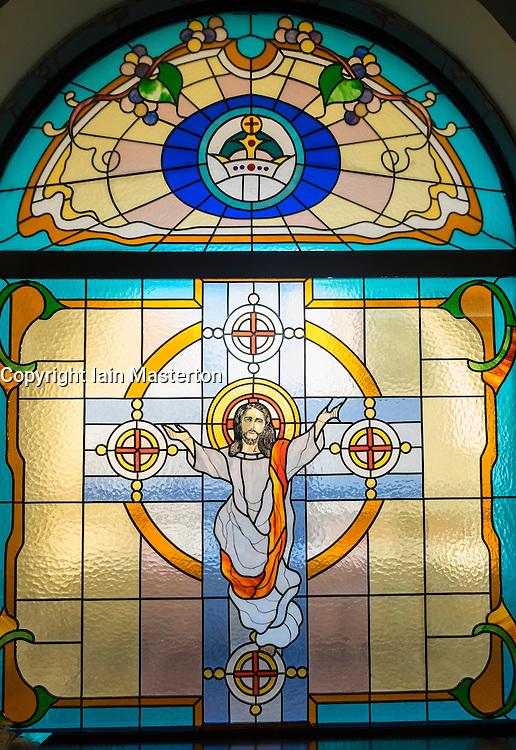Stained glass window in Mor Ignatius Jacobite Syrian Orthodox Church at Jebel Ali in Dubai United Arab Emirates