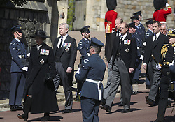 (Left to right) Princess Anne, the Duke of York, Peter Phillips, the Duke of Cambridge, the Earl of Wessex and Peter Phillips walking in the procession to St George's Chapel, Windsor Castle, Berkshire, for the funeral of the Duke of Edinburgh. Picture date: Saturday April 17, 2021.