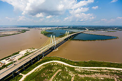 September 1, 2017 - Flooded water from Tropical Storm Harvey shown over an aerial view of the Fred Hartman Bridge in Baytown. (Credit Image: © Juan Deleon via ZUMA Wire)