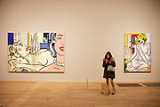 London, UK. Monday 18th February 2013. Lichtenstein: A Retrospective at  Tate Modern brings together 125 of artist Roy Lichtenstein's most definitive paintings and sculptures. Two Nudes (1995) and Blue Nude (1995)