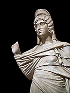 Roman statue of Julia Domina . Marble. Perge. 2nd century AD. Inv no 3268. Antalya Archaeology Museum; Turkey. Against a black background. .<br /> <br /> If you prefer to buy from our ALAMY STOCK LIBRARY page at https://www.alamy.com/portfolio/paul-williams-funkystock/greco-roman-sculptures.html . Type -    Antalya     - into LOWER SEARCH WITHIN GALLERY box - Refine search by adding a subject, place, background colour, museum etc.<br /> <br /> Visit our ROMAN WORLD PHOTO COLLECTIONS for more photos to download or buy as wall art prints https://funkystock.photoshelter.com/gallery-collection/The-Romans-Art-Artefacts-Antiquities-Historic-Sites-Pictures-Images/C0000r2uLJJo9_s0