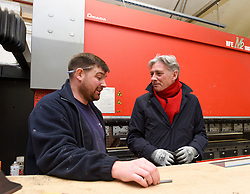 Pictured: Richard Leonard is shown one of the machines used to bend pipework by workshop manager Robert Dodds.<br /> <br /> Scottish Labour leader Richard Leonard visited an air conditioning company in Midlothian with Labour's candidate in the Midlothian seat, Danielle Rowley.<br /> <br /> © Dave Johnston / EEm