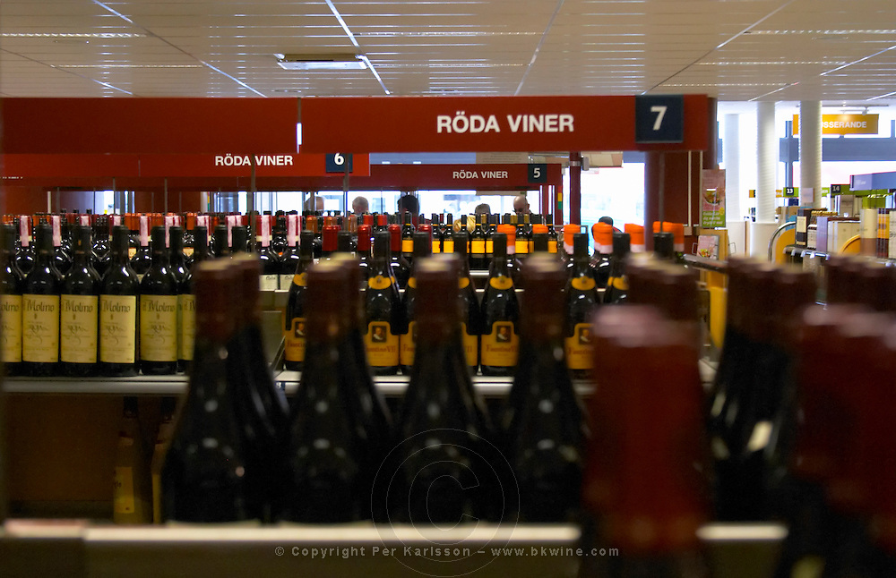 The self service Systembolaget store with wines standing on shelves. Monopoly wine and spirits shop. Vaxjo town. Smaland region. Sweden, Europe.