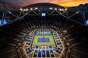 September 4, 2020 - Overall view of the men's singles match between Novak Djokovic and Jan-Lennard Struff at the 2020 US Open. (Photo by Darren Carroll/USTA)