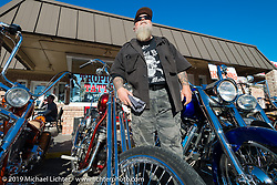 Willie at his Tropical Tattoo annual Old School Bike Show during Daytona Bike Week. FL, USA. March 13, 2014.  Photography ©2014 Michael Lichter.